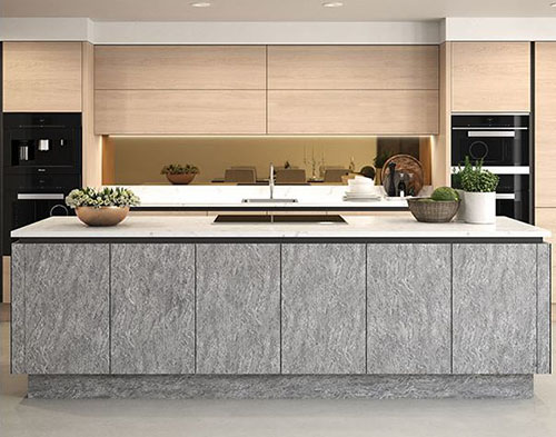 8685dbbba99 A good example of this would be here where the Varenna in blonde wood is  combined with the cool stone effect of the Langham kitchen in basalt.